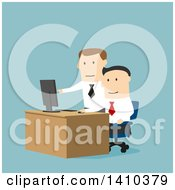 Clipart Of A Flat Design Boss Helping An Employee On A Computer On Blue Royalty Free Vector Illustration by Vector Tradition SM