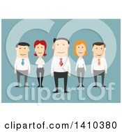 Clipart Of A Flat Design Caucasian Business Team On Blue Royalty Free Vector Illustration by Vector Tradition SM