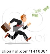 Clipart Of A Caucasian Business Man Chasing Money Royalty Free Vector Illustration by Vector Tradition SM