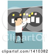 Clipart Of A Flat Design White Business Man Laying Out A Plan On A Board On Blue Royalty Free Vector Illustration by Vector Tradition SM