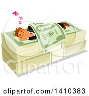 Clipart Of A Caucasian Business Man Sleeping On A Money Bed Royalty Free Vector Illustration by Vector Tradition SM