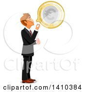 Clipart Of A Caucasian Business Man Blowing A Bubble With Euro Currency Royalty Free Vector Illustration