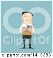 Clipart Of A Flat Design White Businessman Carrying A Box Of Belongings After Being Fired On Blue Royalty Free Vector Illustration by Vector Tradition SM
