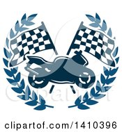Clipart Of A Motorcycle Over Crossed Checkered Racing Flags In A Blue Wreath Royalty Free Vector Illustration by Vector Tradition SM