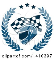 Clipart Of A Racing Helmet Over A Checkered Flag In A Wreath Royalty Free Vector Illustration