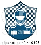 Clipart Of A Blue Race Car Driver In A Checkered Shield Royalty Free Vector Illustration