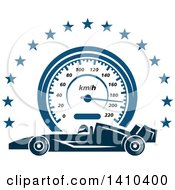 Clipart Of A Blue Race Car Speedometer And Stars Royalty Free Vector Illustration