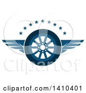 Clipart Of A Flying Tire With Blue Wings And Stars Royalty Free Vector Illustration by Vector Tradition SM
