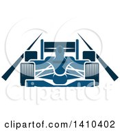 Clipart Of A Blue Race Car On A Track Royalty Free Vector Illustration by Vector Tradition SM