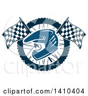 Clipart Of A Blue Racing Helmet Over Crossed Checkered Flags And A Wheel Royalty Free Vector Illustration