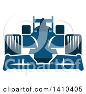 Clipart Of A Blue Race Car Royalty Free Vector Illustration