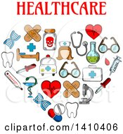 Clipart Of A Heart Formed Of Sketched Medical Icons With Text Royalty Free Vector Illustration by Vector Tradition SM