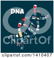 Clipart Of A Flat Design Dna Strand Formed Of Medical Icons With Text On Blue Royalty Free Vector Illustration by Vector Tradition SM
