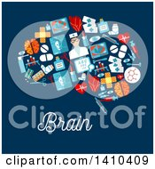 Flat Design Brain Made Of Medical Items With Text On Blue