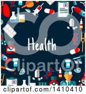 Clipart Of A Flat Design Border Of Health Icons And Text On Blue Royalty Free Vector Illustration