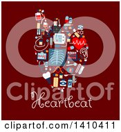 Clipart Of A Flat Design Human Heart Formed Of Medical Icons With Text On Red Royalty Free Vector Illustration by Vector Tradition SM
