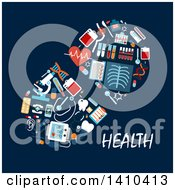 Clipart Of A Flat Design Pill Made Of Medical Icons With Text On Blue Royalty Free Vector Illustration by Vector Tradition SM