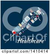 Clipart Of A Flat Design Syringe Made Of Medical Icons On Blue Royalty Free Vector Illustration