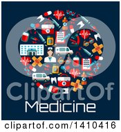 Clipart Of A Flat Design Pill Formed Of Medical Icons With Text On Blue Royalty Free Vector Illustration by Vector Tradition SM