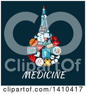 Clipart Of A Flat Design Enema Rectal Bulb Syringe Made Of Medical Icons Royalty Free Vector Illustration