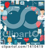 Clipart Of A Flat Design Border Of Medical Icons On Blue Royalty Free Vector Illustration