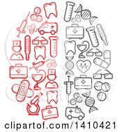 Clipart Of A Brain Formed Of Red And Gray Medical Icons Royalty Free Vector Illustration by Seamartini Graphics