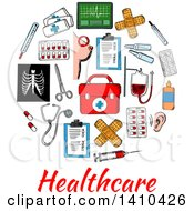 Clipart Of A Circle Formed Of Sketched Medical Icons With Text Royalty Free Vector Illustration by Vector Tradition SM