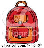 Clipart Of A Sketched Backpack Royalty Free Vector Illustration