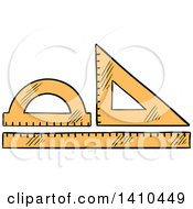 Clipart Of Sketched Drafting Rulers Royalty Free Vector Illustration