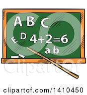 Clipart Of A Sketched Chalkboard Royalty Free Vector Illustration