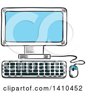Clipart Of A Sketched Desktop Computer Royalty Free Vector Illustration by Vector Tradition SM