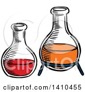 Clipart Of Sketched Science Flasks Royalty Free Vector Illustration