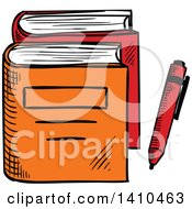 Clipart Of Sketched Books Royalty Free Vector Illustration by Seamartini Graphics