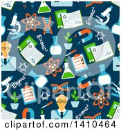 Clipart Of A Flat Design Background Of Science Icons Royalty Free Vector Illustration