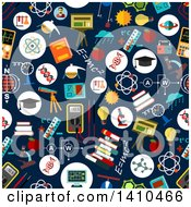 Clipart Of A Seamless Background Pattern Of Flat Design Science Items Royalty Free Vector Illustration
