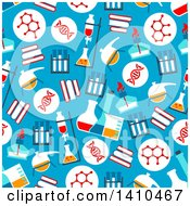 Clipart Of A Flat Design Background Of Chemistry Icons Royalty Free Vector Illustration