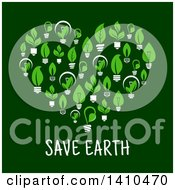 Heart Made Of Leafy Green Light Bulbs Over Save Earth Text On Green