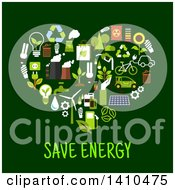 Clipart Of A Flat Design Heart Made Of Ecology Icons With Text On Green Royalty Free Vector Illustration