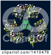 Clipart Of A Flat Design Recycle Arrows With Save Earth Text Made Of Green Icons On Blue Royalty Free Vector Illustration