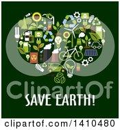 Clipart Of A Flat Design Heart Made Of Green Icons With Text On Green Royalty Free Vector Illustration