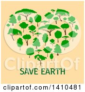 Clipart Of A Heart Formed Of Trees Over Save Earth Text On Beige Royalty Free Vector Illustration