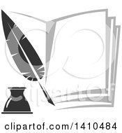 Clipart Of A Grayscale Feather Quill And Book Royalty Free Vector Illustration by Vector Tradition SM