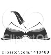 Clipart Of A Grayscale Feather Quill Over An Open Book Royalty Free Vector Illustration