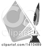 Clipart Of A Grayscale Feather Quill And Book Royalty Free Vector Illustration