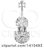 Clipart Of A Violin Formed Of Black And White Music Notes Royalty Free Vector Illustration by Vector Tradition SM