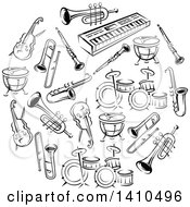 Clipart Of A Circle Of Black And White Musical Instruments Royalty Free Vector Illustration