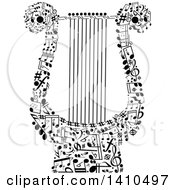 Clipart Of A Lyre Formed Of Black And White Music Notes Royalty Free Vector Illustration