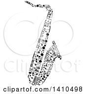 Clipart Of A Saxophone Made Of Black And White Music Notes Royalty Free Vector Illustration