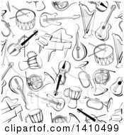 Clipart Of A Seamless Background Pattern Of Black And White Instruments Royalty Free Vector Illustration by Vector Tradition SM