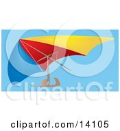 Blue Red And Yellow Hang Glider In A Clear Blue Sky Aircraft Clipart Illustration